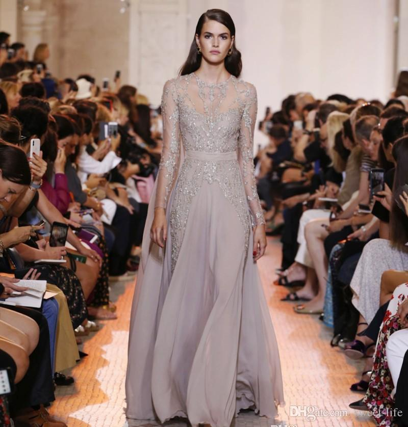 Ellie Saab Sequined A Line Evening Dresses Sheer Jewel Neck Long Sleeves Prom Gown Chiffon Illusion Formal Party Dress
