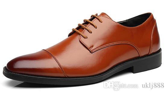 Düğün Ayakkabı Yüksek Kaliteli Iş Rahat Deri Ayakkabı Ofis Erkekler Resmi Lüks Nefes Oxfords Ayakkabı Büyük Boy