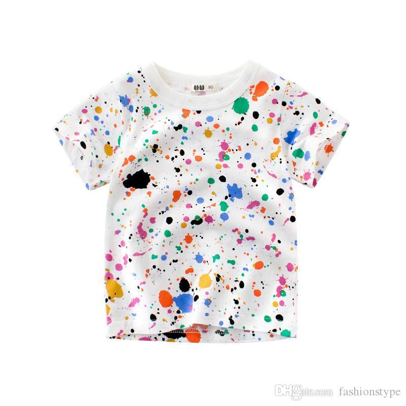 Tasarlanmış Çocuklar Çocuk Baskı T-shirt Kısa Kollu Pamuk Tee Gömlek Üstleri Yürüyor Çocuk Bebek Erkek Kız Yaz Tee Giyim