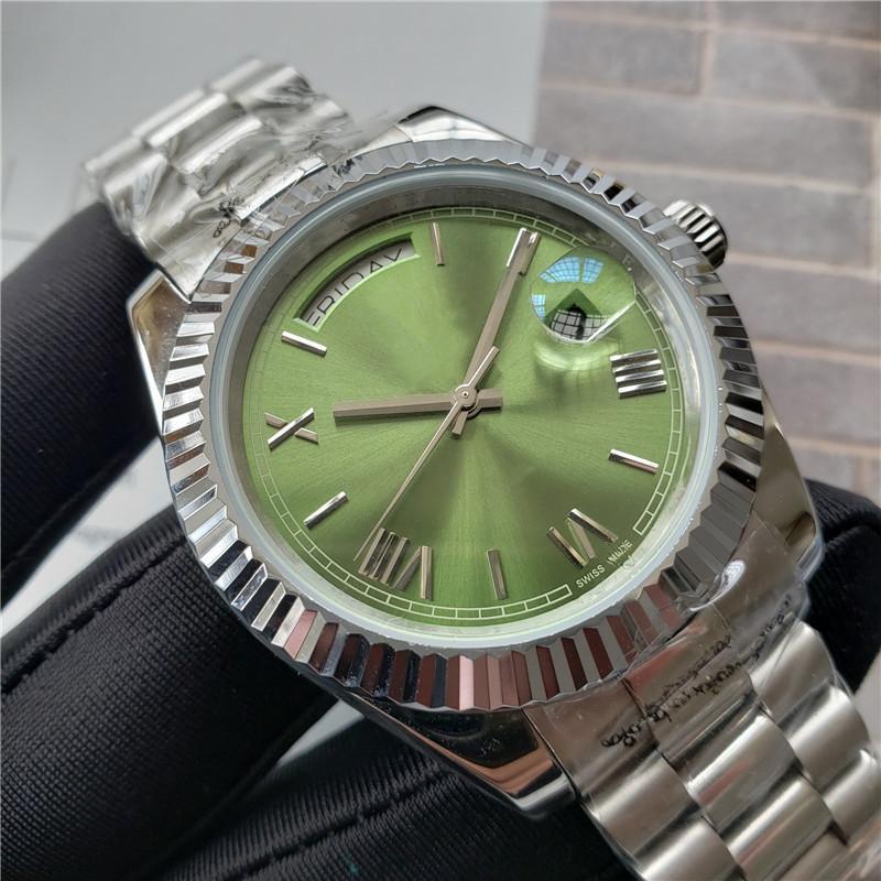 2020 Mens Watch Giorno Moda DATA Verde Dial Presidente Movimento Acciaio Mens automatico Mechnical Sport orologio da polso