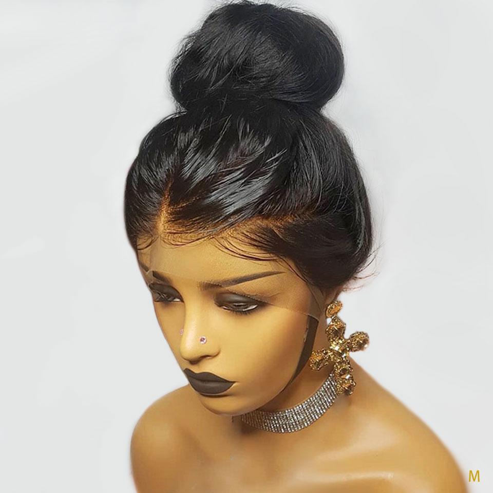 يشبع شريط لمة أمامي البرازيلي ريمي مستقيم الباروكات للنساء السود قبل التقطه مع شعر الطفل 150٪ نسبة الأوسط ابيض