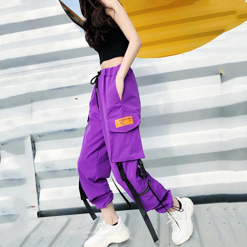 Sıcak Büyük Cepler Kargo Pantolon Kadın Yüksek Bel Gevşek Streetwear Pantolon Baggy Taktik Pantolon Hip Hop Yüksek Kaliteli Joggers Pantolon Y190430