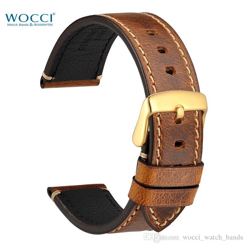 WOCCI Allemagne Crazy-horse Leather Watchbands Bandes de remplacement de montre de mode avec des aiguilles à boucle dorées Outils Largeur de bande 24mm 22mm 20mm 18mm