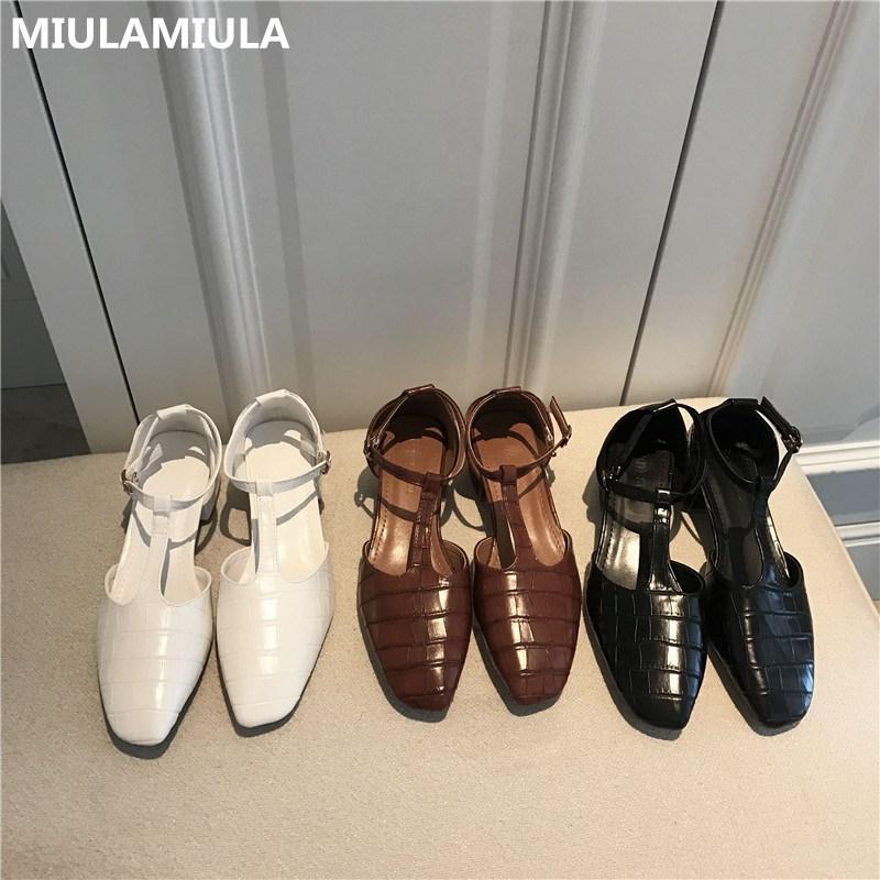 MIULAMIULA Brand Design High Quality 2020 Осенняя мода Хорошая мягкая кожа Мэри Джейн пряжкой ремень Мягкое дно Женщины сандалии обуви