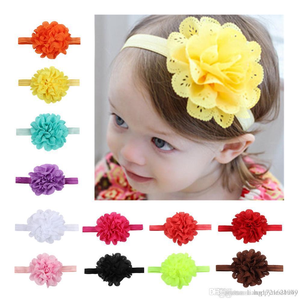 12 farben blumen stirnbänder baby kinder haar sticks elastische kinder haarschmuck blumen mädchen kopf bands infant stirnband