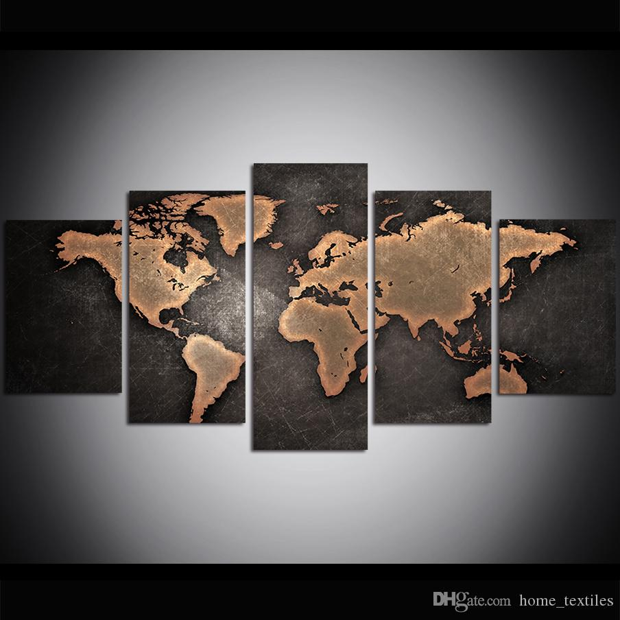 5 Piece Large Size Canvas Wall Art Old World Map Oil Painting Wall Art Pictures for Living Room Paintings Wall Decor