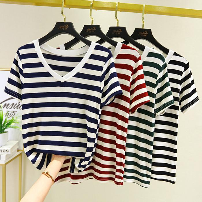 Wholesale summer womens v-neck striped panelled T-shirt casual comfortable pullover short sleeve clothing