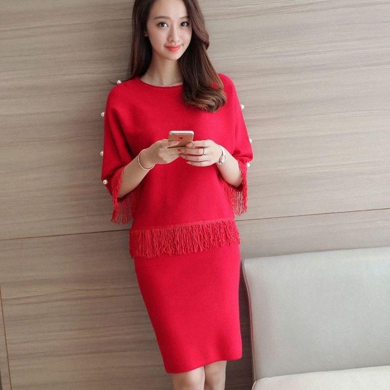 2018 automne nouvelle coréenne occasionnels houppe en vrac de grande taille Pull top femmes 2 pièce ensemble des femmes de taille élastique mince mini jupe LF707 gBmm #