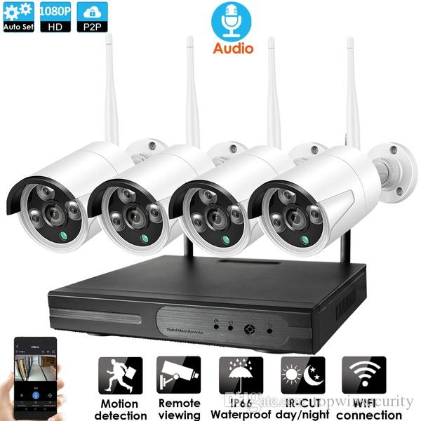 4CH نظام CCTV الصوت اللاسلكي 1080P NVR 4PCS 2.0MP IR في الهواء الطلق P2P واي فاي IP CCTV الأمن كاميرا نظام مراقبة كيت