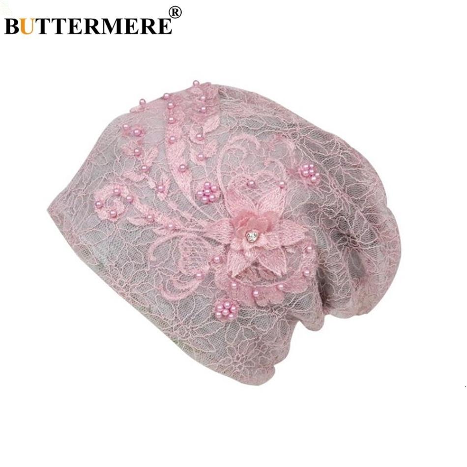BUTTERMERE Lace Skullies Beanies Caps Women Chemotherapy Turban Stretch Female Pile Heap Cap Ladies Pink Headscarf Bandana MX191130