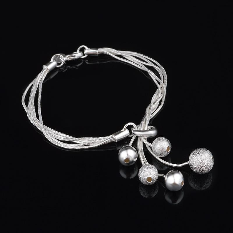 Women Ball Designs Bracelets 925 Sterling Silver Plated Snake Chain Bracelet Fashion Jewelry Birthday Gift with Lobster Clasp and Stamp 20cm