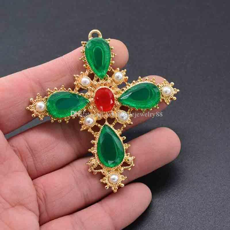 Wholesale Bohemian Fashion 14K Gold Crosses Brooch Pins Green Gemstone Brooches Corsage For Women Girl Suit Dress Accessories Jewelry