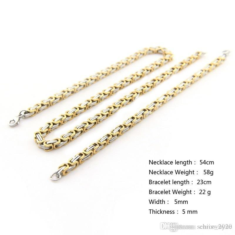 New Arrival Cool Guaranteed 316L Stainless Steel Women Mens Costume Silver Gold Bracelet Necklace Fashion Jewelry Set