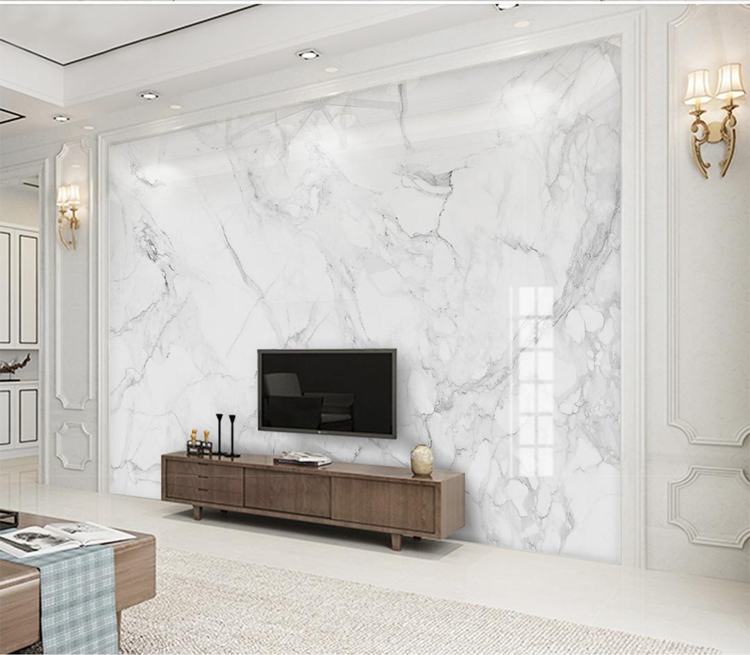 Özel Herhangi Boyutu 3D Duvar Kağıdı Modern Minimalist Caz Beyaz Mermer 3D TV Arka Plan Duvar Dekorasyon Duvar Kağıdı