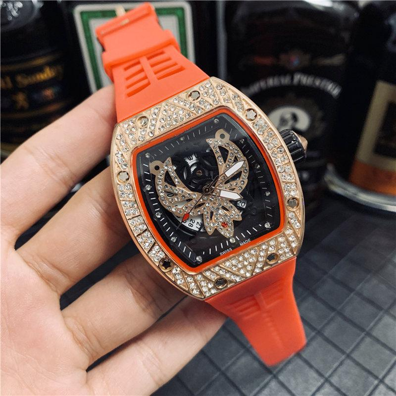 Diamon Eagle Fashion Herren Luxusuhr Iced Designer Bewegung Uhren Quarzwerk Kautschukband Herren Sport Armbanduhr Freies Verschiffen