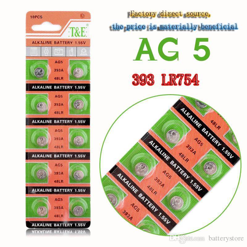 500PCS الجملة المصنع مباشرة AG5 393A LR48 LR754 15 193 LR48 LR 48 D309 399 1.55V 60mAh زر البطارية لمشاهدة التحكم عن بعد، الخ.