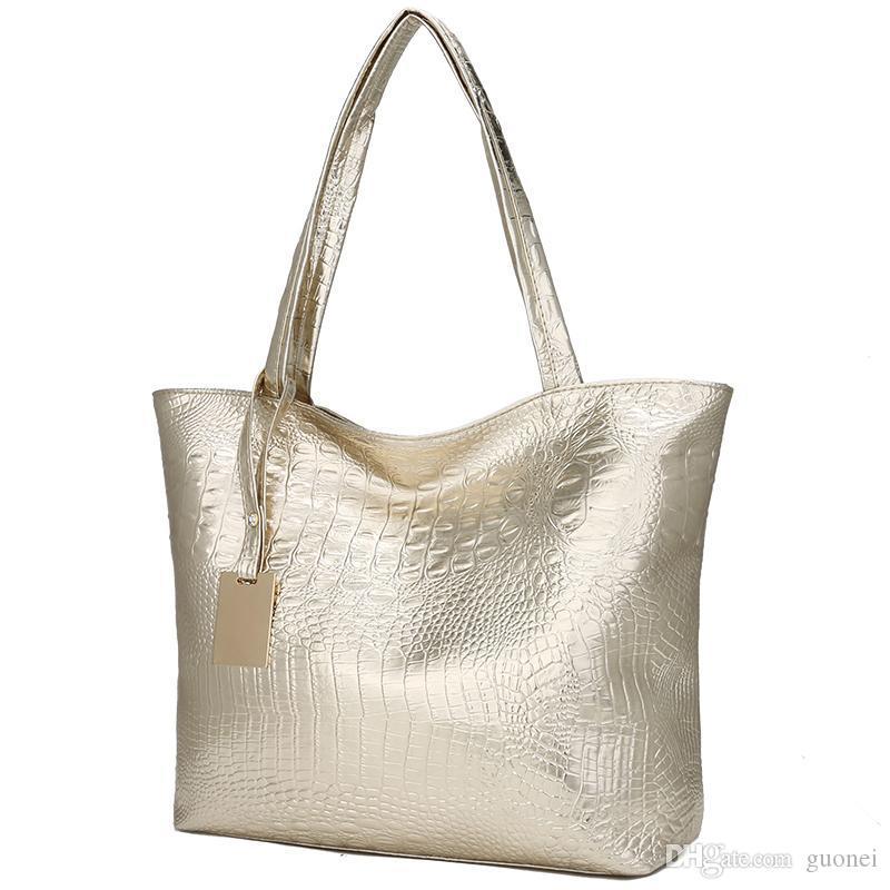 Women Soft Female Silver Handbag Leather Designer- Shoulder Bag Black Ladies Big Pattern Casual Tote Gold Crocodile Hand Bags Dqmgq