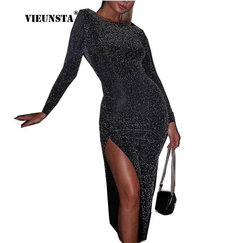 Повседневные платья Vieunsta Сексуальный блестящий с длинным рукавом Split Bodycon платье женщин весна веселья вечеринка на шее Макси черные высокие эластичные Vestidos