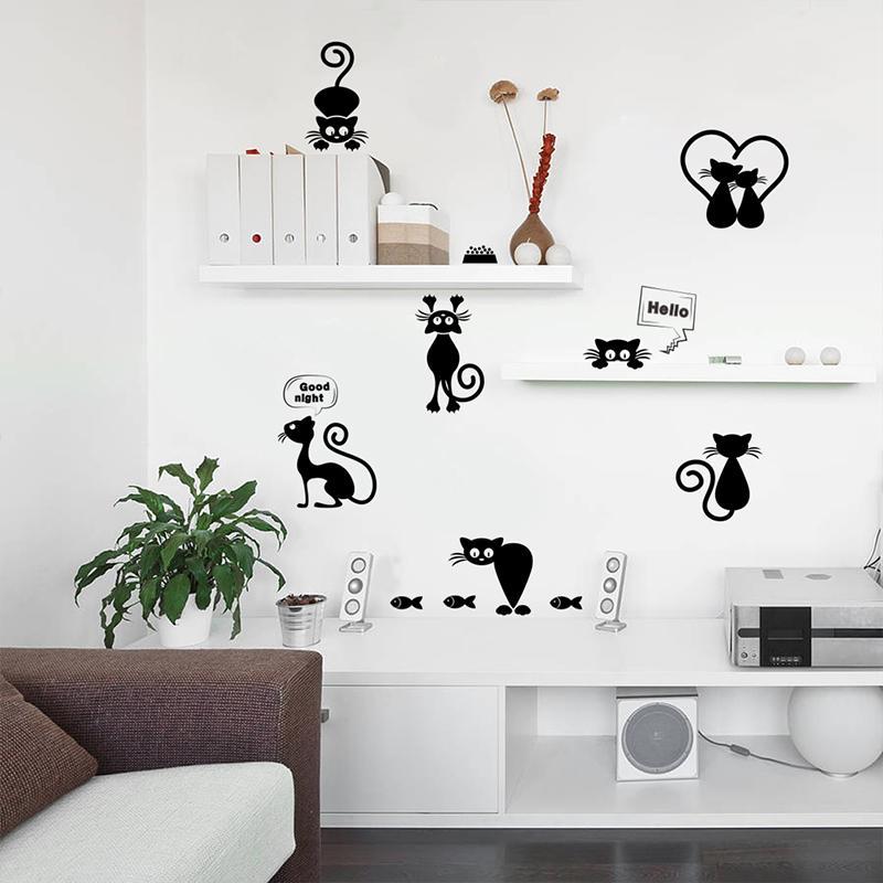 Compre Gatos Lindos Interruptor De Luz Teléfono Pegatinas De Pared Para Cocina Sala De Bricolaje Decoración Para El Hogar Sala De Estar De Dibujos