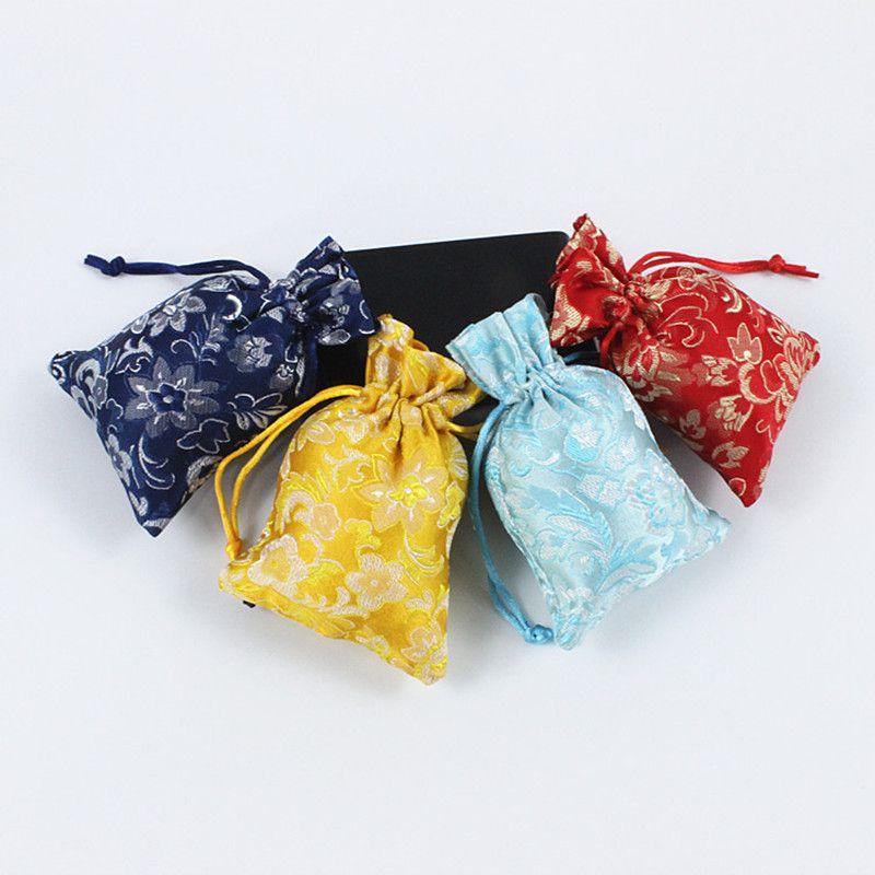 Lotus Flower ricamato Regali sacchetti blu e nero gioielli in porcellana con coulisse Sacchetti festa di nozze di stile cinese sacchetto di seta
