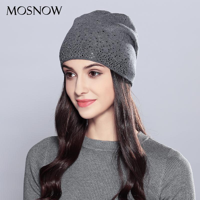 MOSNOW Woman Winter Hats Wool Rhinestones 2018 Double Layer Thick Fashion Autumn Knitted Hat Female Skullies Beanies Cap #MZ723 S18120302