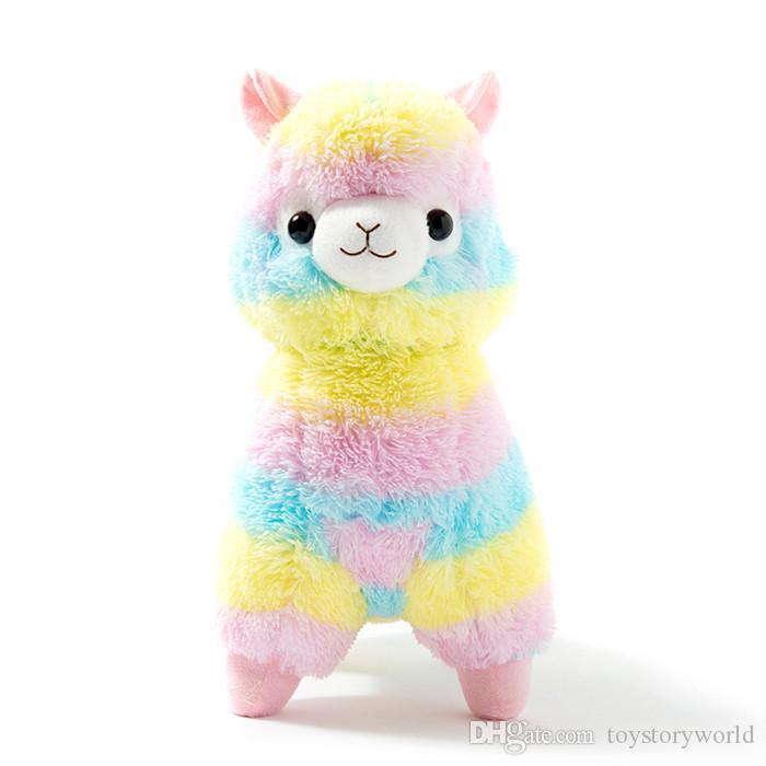 20cm de algodón suave del arco iris alpaca de peluche de juguete de felpa de la muñeca del arco iris de caballos Lama Animales juguetes para los regalos de cumpleaños de los niños de Navidad