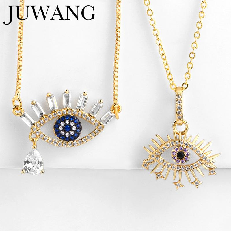 Turkish Evil Eye pendant Necklace Gold Cubic Zirconia Greek Blue Eye For Women Men Fashion Necklaces 2019