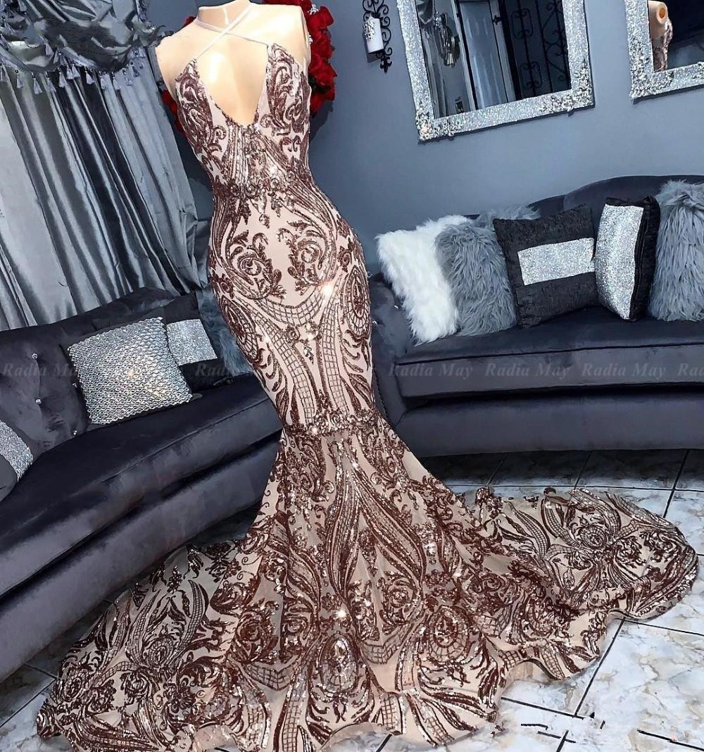 Sexy Halter Backless Rose Gold Gold Semiid Sirena Prom Dresses 2019 Scintilly Champagne Lunga African Abito da sera Abito da sera Abiti da sera