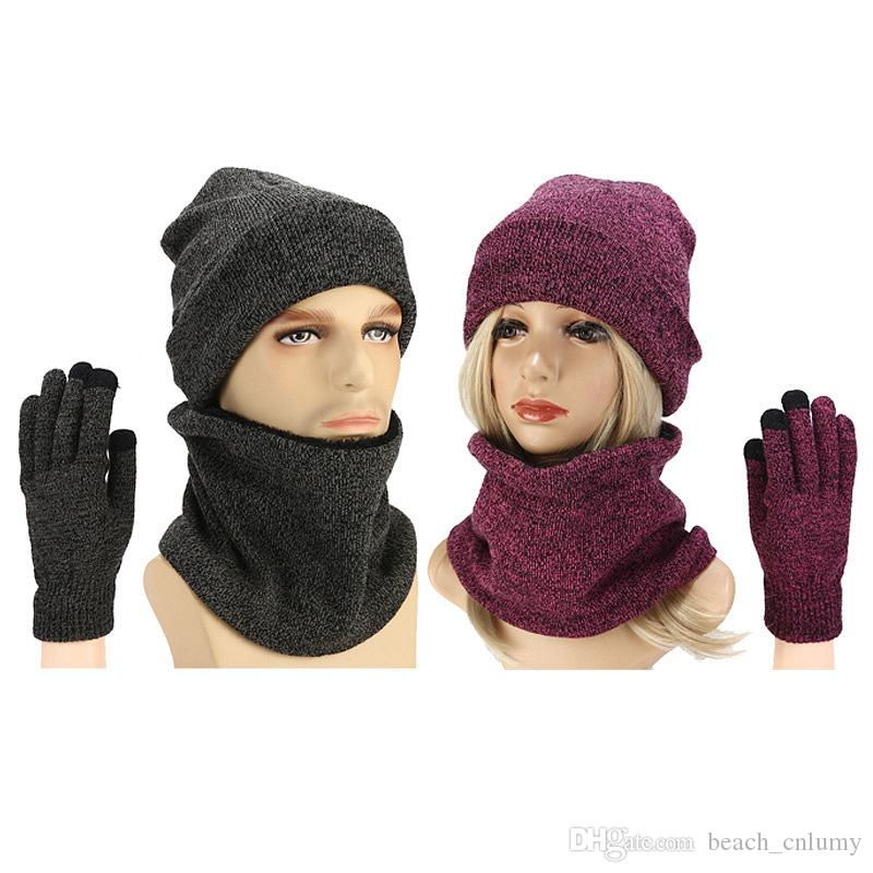 Yeni Kış Örme Şapkalar Erkek Kadın Sıcak Şapka Önlük Dokunmatik Ekran Eldiveni Kadın Kaput Bere Kap Açık Sürme Şapka Atkılar Eldiven Setleri