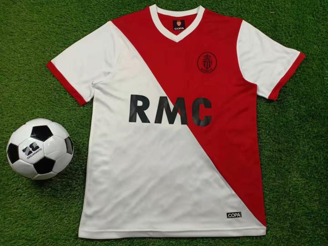 Monaco 1977 1982 Futebol Retro Jersey 77 82 Monaco casa vermelha e camisa branca de futebol Dalger Tuybens