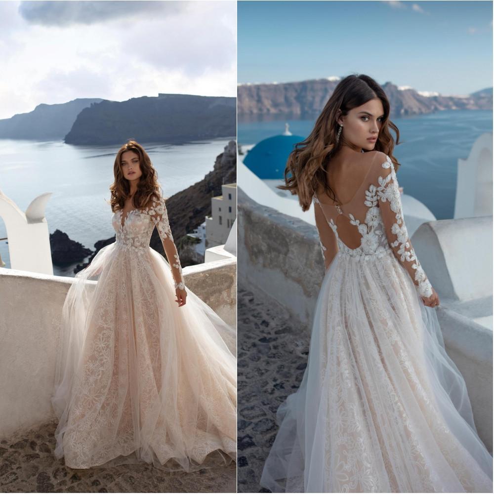 2020 Robes de mariée à encolure dégagée à manches longues en dentelle Robes de mariée Appliqués à dos creux balayage train Une robe de mariée ligne Robe de mariée