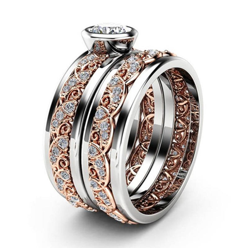Worth zu kaufen Exquisite Frauen-18K Rose Goldblumenringe Jahrestag Vorschlag Geschenk 925 Sterlingsilber-Weiß Saphir-Ring-Größe 5-12