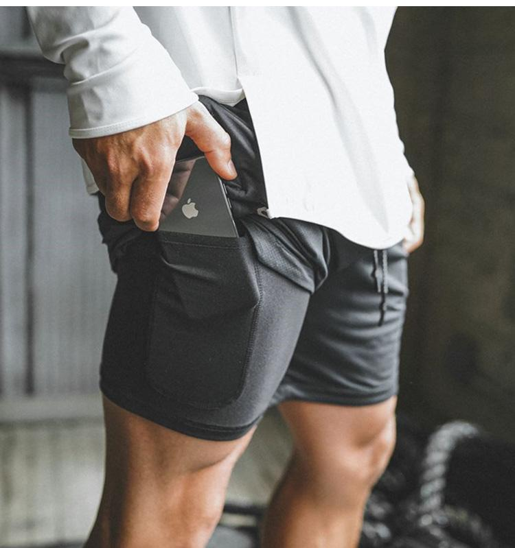 Mens 2 in 1 Running Shorts Quick Drying Breathable Sport Shorts Gyms Fitness Workout Built in Pockets Shorts