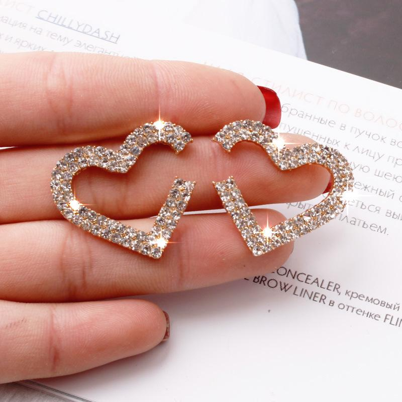S1182 موضة ساخنة مجوهرات S925 الفضة المشاركة أقراط الماس أقراط كريستال القلب