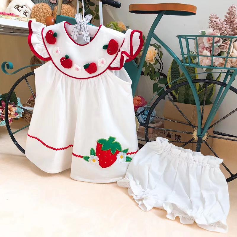 2PCS Baby Girl Summer Vintage Strawberry Embroidey Princess Dress with Pants White Casual Dress for Baby Girls 100% Cotton Y3032