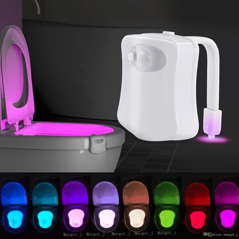 حار البير استشعار الحركة المرحاض مقعد الجدة الصمام مصباح 8 ألوان تغيير السيارات الأشعة تحت الحثية ضوء وعاء للإضاءة الحمام