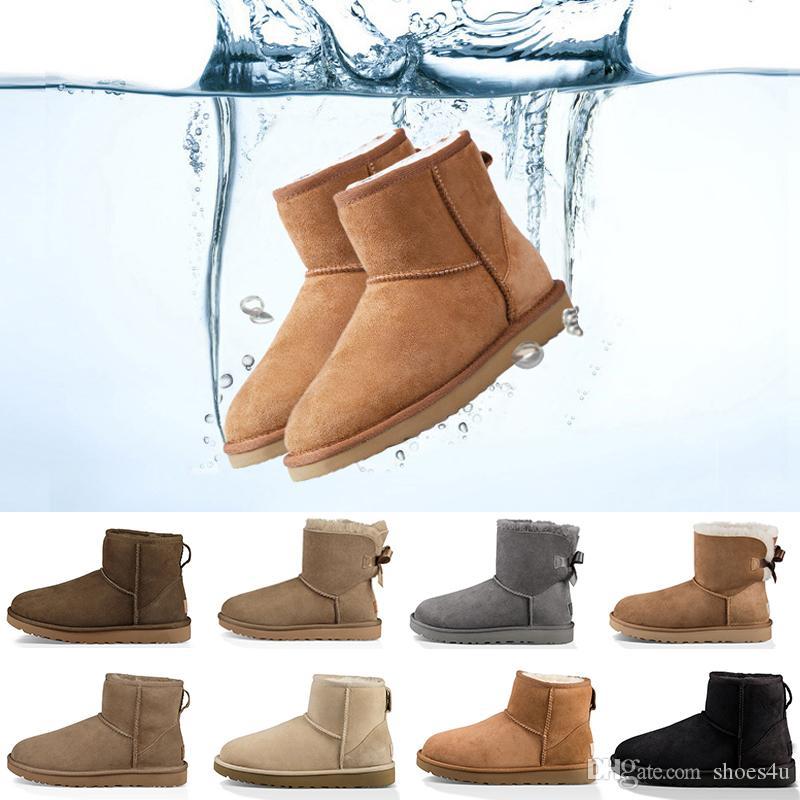 2019 nuevo invierno de nieve Australia Clásico botas buena WGG de manera alto botas de cuero reales del Bowknot Bailey Botas Bailey arco de la rodilla de las mujeres Zapato de hombre