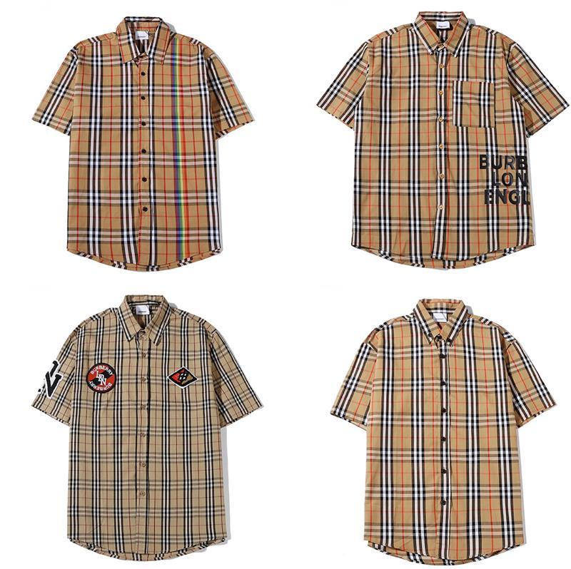 2020 L'uomo di marca camicia calda di vendita modo di alta qualità del cotone del Mens Oxford Spinning tempo libero manica corta camicia risvolti rosolato camice all'ingrosso