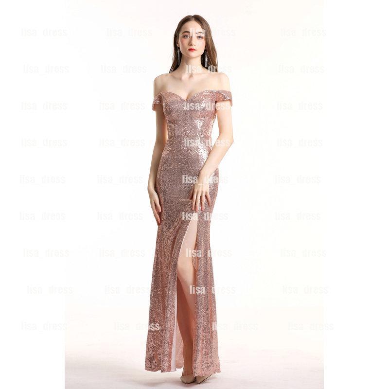 Weg von der Schulter-Abend-Kleider Split Nixe-Abschlussball-Kleid-Seiten-Schlitz Paillette Abendkleid Lange Frauen-formales Kleid Plus Size