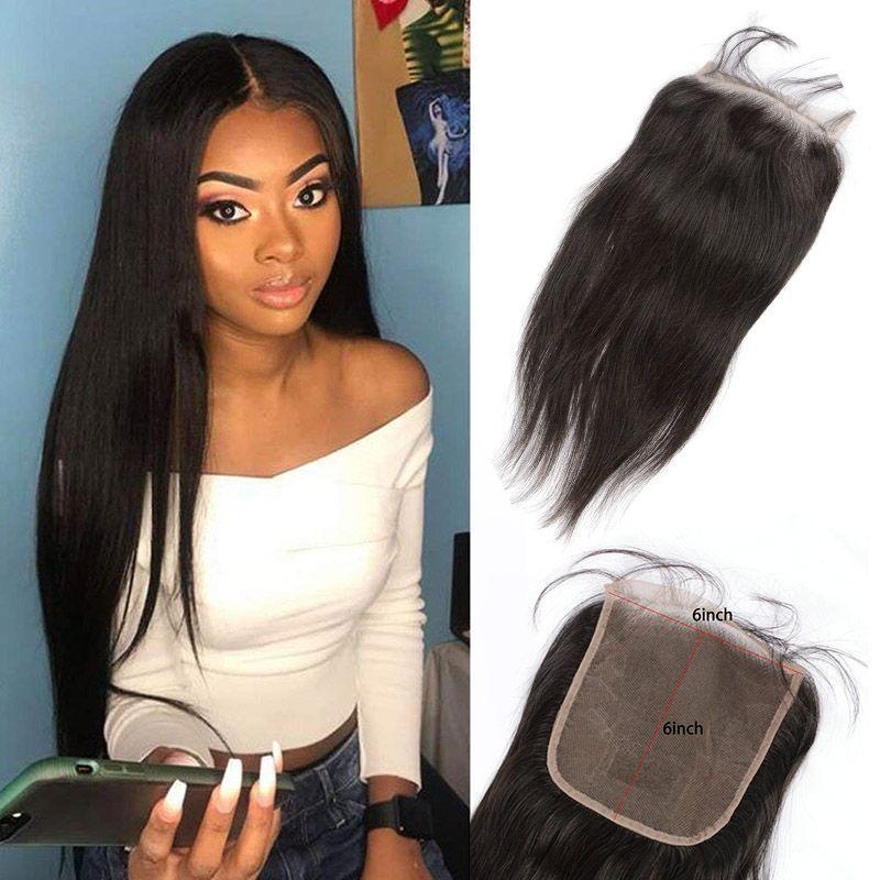 Pérou vague de corps droite 8-20inch Cheveux 6X6 Dentelle Fermeture humaine naturelle Couleur Six par Six Cheveux Vierge bébé Fermeture cheveux