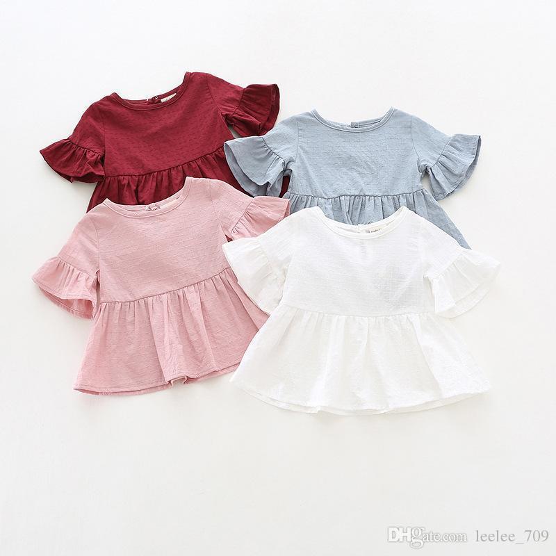 Ins New Arrival Girls Kids Shirt Ruffles Sleeve 라운드 칼라 단색 셔츠 Girl Baby Casual Summer 100 % Cotton Shirt