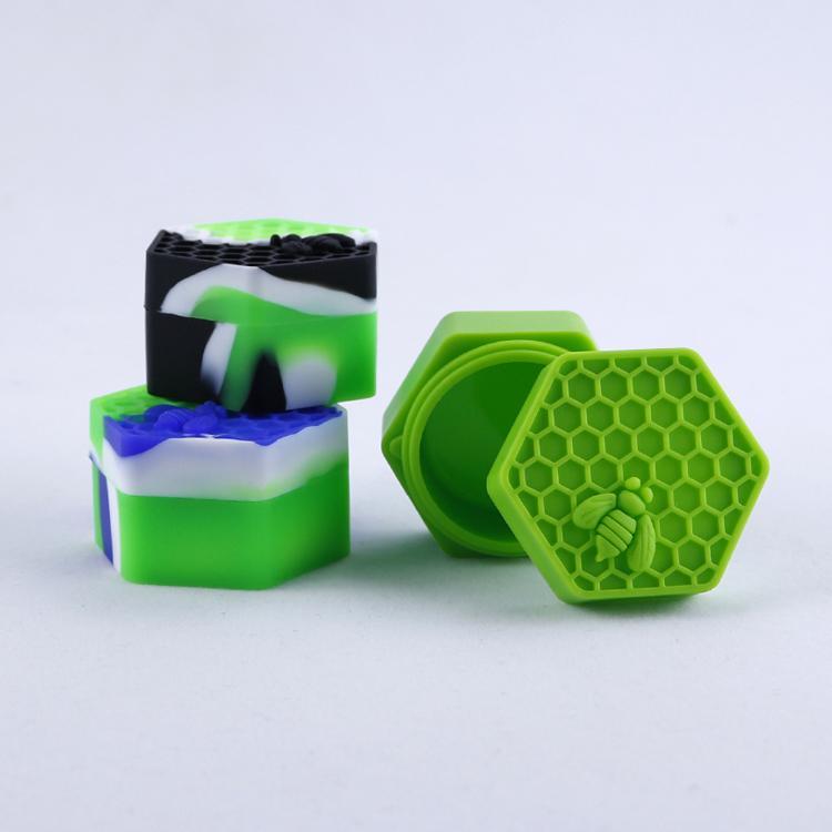 Antiaderente Honeybee cera contenitori 26ml esagono miele ape contenitore silicone per uso alimentare vasetti dab magazzino utensili titolare olio vaso 4 colori