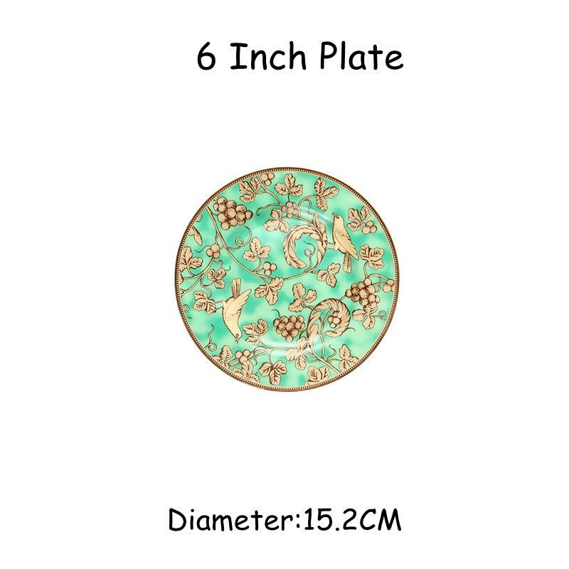 Kemik Çin Sofra Takımı Kahve Çay Kupası Batı Steak Plate Tatlı Bowl Sofra Gıda Tepsileri Çay Kupası Düz Tabaklar 5pcs / Seti
