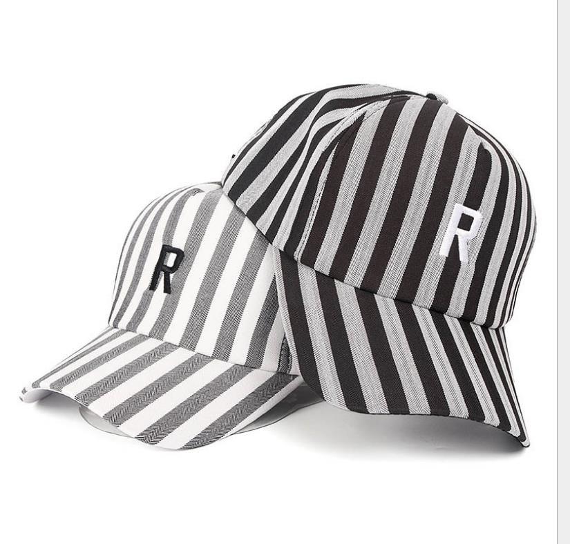 2019 new summer fashion couple hat male Korean version of casual wild vertical stripes baseball cap female sunscreen letter visor tide free