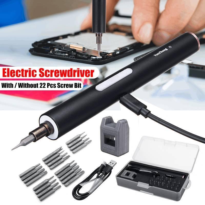 DOERSUPP Mini eléctrico inalámbrico magnético Destornillador Herramienta recargable de ion de litio Precisiones destornillador de la mano Bit Set Y200321