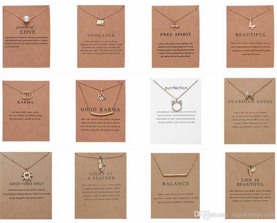 CR المجوهرات وصول جديدة قلادة Dogeared مع هدية بطاقة الفيل لؤلؤة الحب أجنحة الصليب مفتاح البرج علامة البوصلة لوتس قلادة للنساء