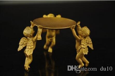Bronze antique Pure Cuivre En Laiton Décoration de La Maison Chinois en Laiton Animal 3 ange lampe à huile Bougeoir Bougeoir statue mk