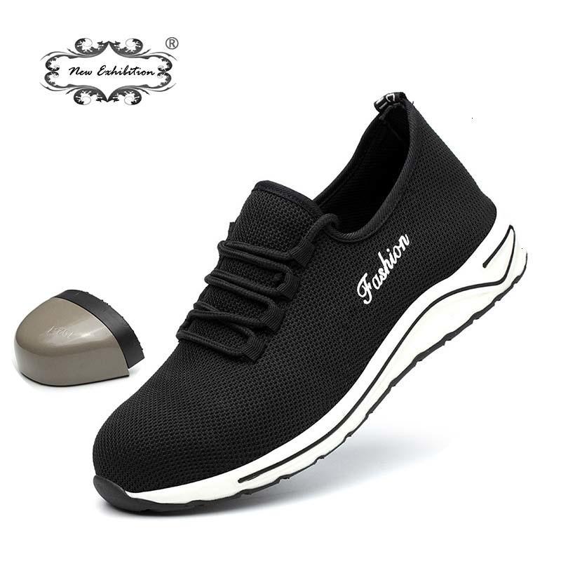 Nova exposição sapatos de segurança Leve Homens moda respirável Anti-quebrando biqueiras de aço sapatos de trabalho Mens Casual Sneaker BootsMX190907