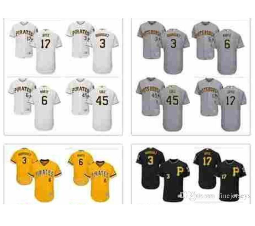 Donna Uomo personalizzato Bambini Pittsburgh Pirates Jersey 3 Rodriguez 17 Joyce 45 Cole 6 Marte baseball Jersey bene