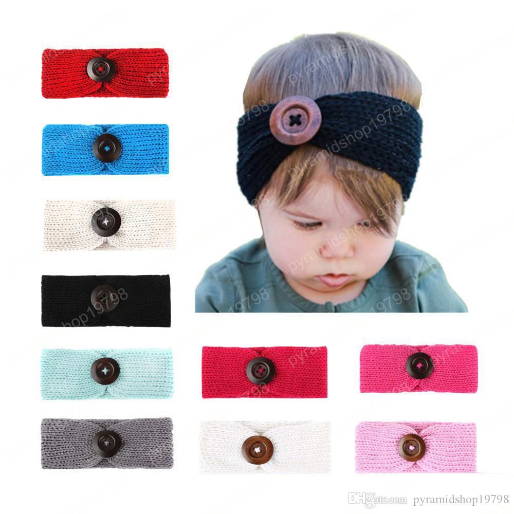 Bébé Filles Mode Laine Crochet Bandeau Tricot Bandeau Avec Bouton Décor Hiver Nouveau-Né Infant Oreille Réchauffeur Headwrap